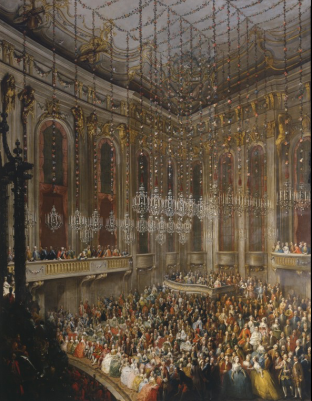 The Arrival of Isabella of Parma on the Occasion of Her Wedding to Joseph II, 1760. Painting by Martin van Meytens.